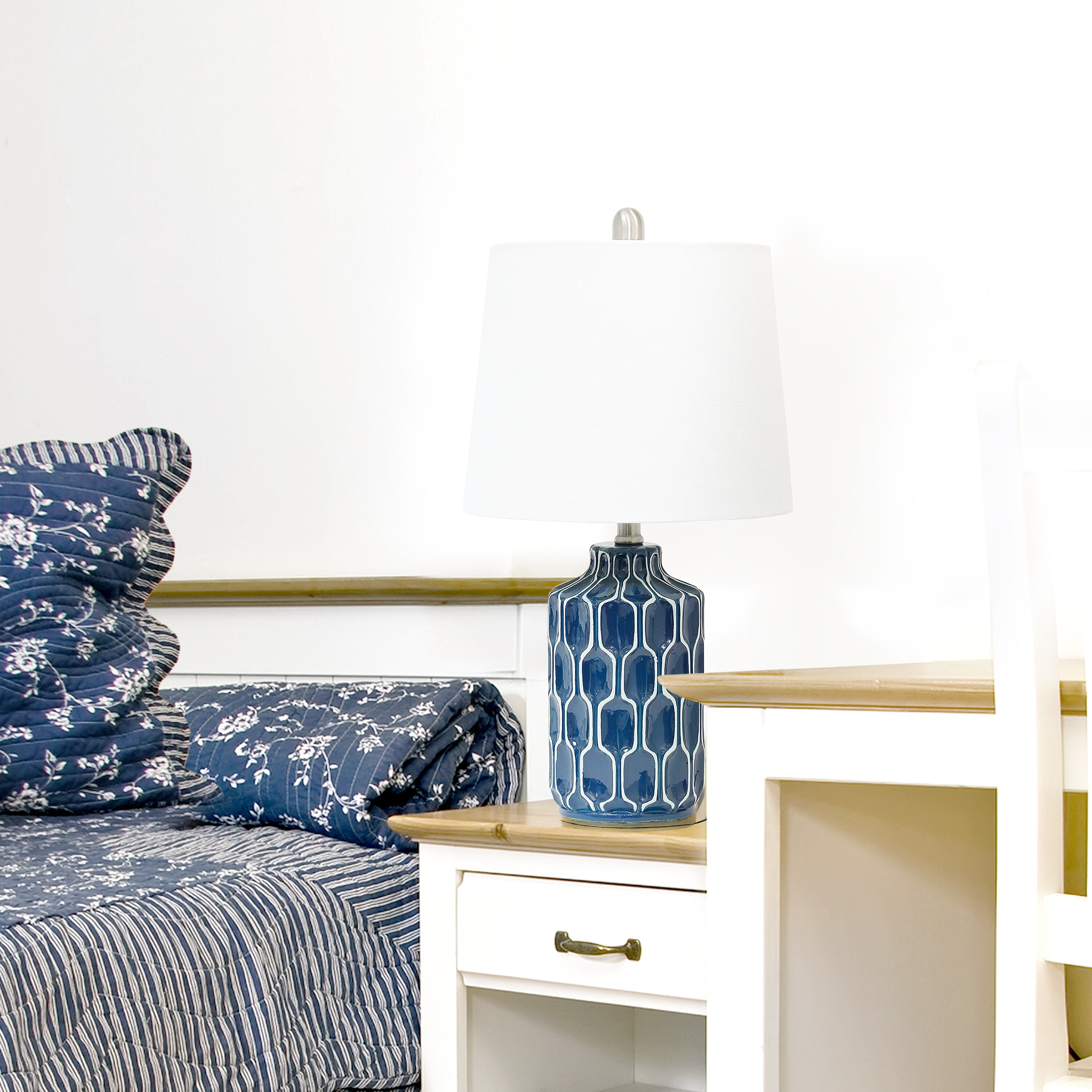 Shop Lalia Home Moroccan Table Lamp With Fabric White Shade Blue Overstock 31027411