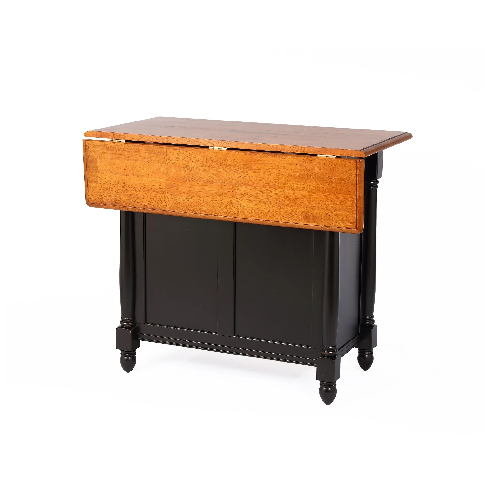 Shop 42 Antique Black And Cherry Kitchen Island With Cherry Drop Leaf Top Overstock 31771615