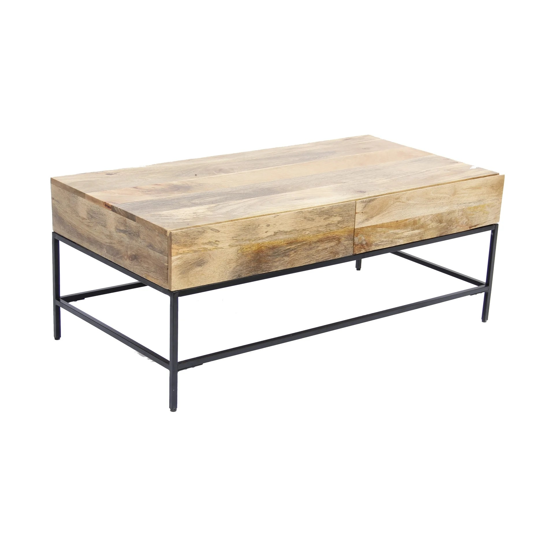 Mango Wood Coffee Table With 2 Drawers Brown And Black Overstock 18151641