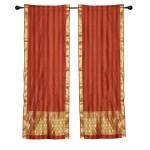 2 Boho Rust Indian Sari Curtains Rod Pocket Window Panels Drapes On Sale Overstock 28844293