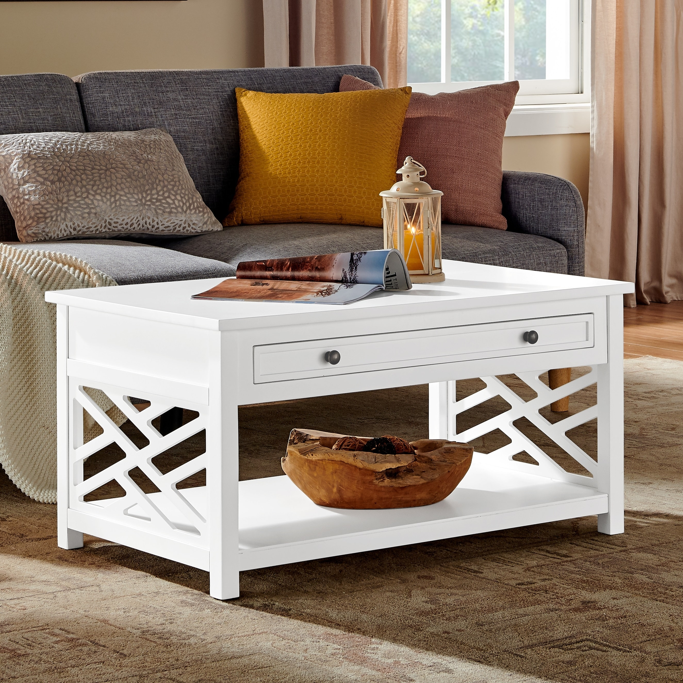 porch den altadena 36 inch wide wood coffee table with 1 drawer