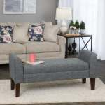 Carson Carrington Borg Charcoal Fabric Storage Bench Settee Overstock 12144529