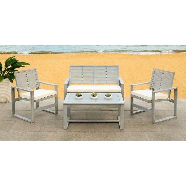 Safavieh Ozark Outdoor 4-Piece Grey Wash Living Set ... on Safavieh Raldin id=22316