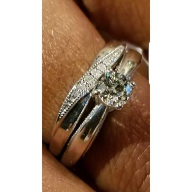 Shop Platinaire Sterling Silver 1 2ct TDW Diamond Solitaire Bridal     Shop Platinaire Sterling Silver 1 2ct TDW Diamond Solitaire Bridal Ring Set    Free Shipping Today   Overstock com   9392531