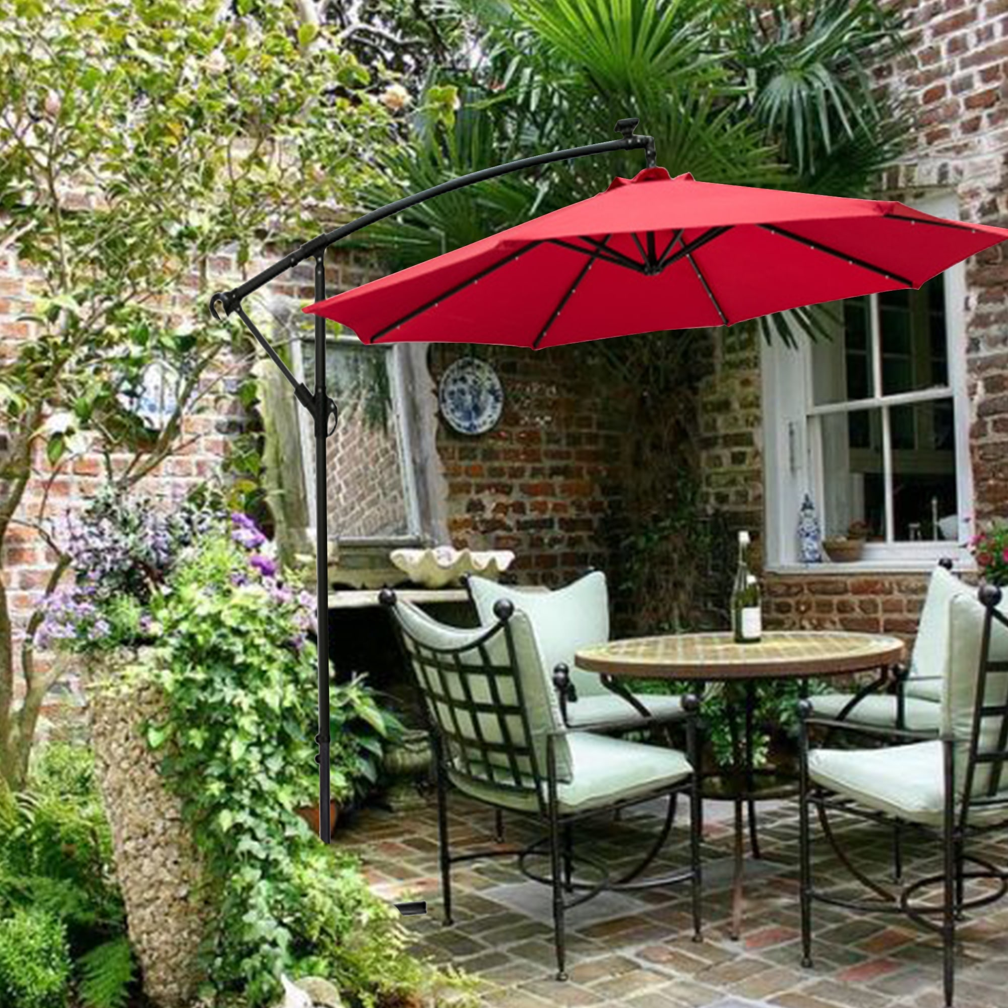 ainfox 10ft solar led offset hanging patio umbrella with crank handle cross base red
