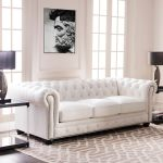 Copper Grove Kasama Chesterfield White Leather Sofa 95 W X 40 5 D X 30 5 H Overstock 30268259