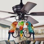 Shop Black Friday Deals On Korubo 52 Inch Lighted Ceiling Fan With Tiffany Style Parrot Shades On Sale Overstock 25994366