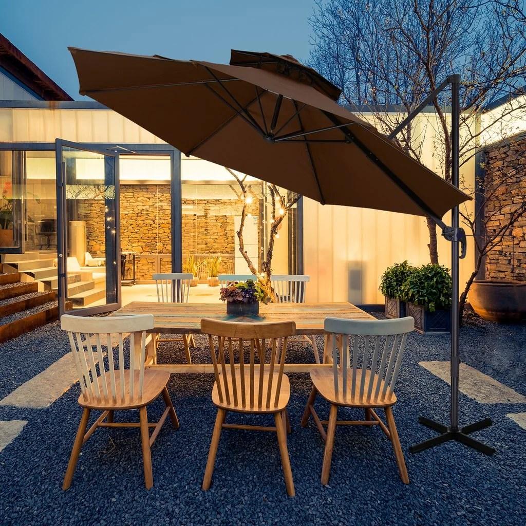 zenova11ft solar patio umbrella 360 degree outdoor market umbrella