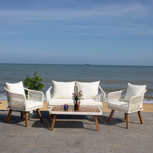 Shop Safavieh Outdoor Raldin Beige Rope 4-Piece Patio Set ... on Safavieh Raldin  id=98703