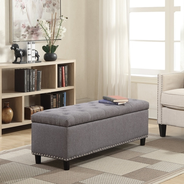 Shop Belleze 48 Quot Rectangular Gray Storage Fabric Ottoman