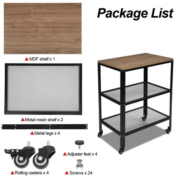 3 tier kitchen microwave cart rolling