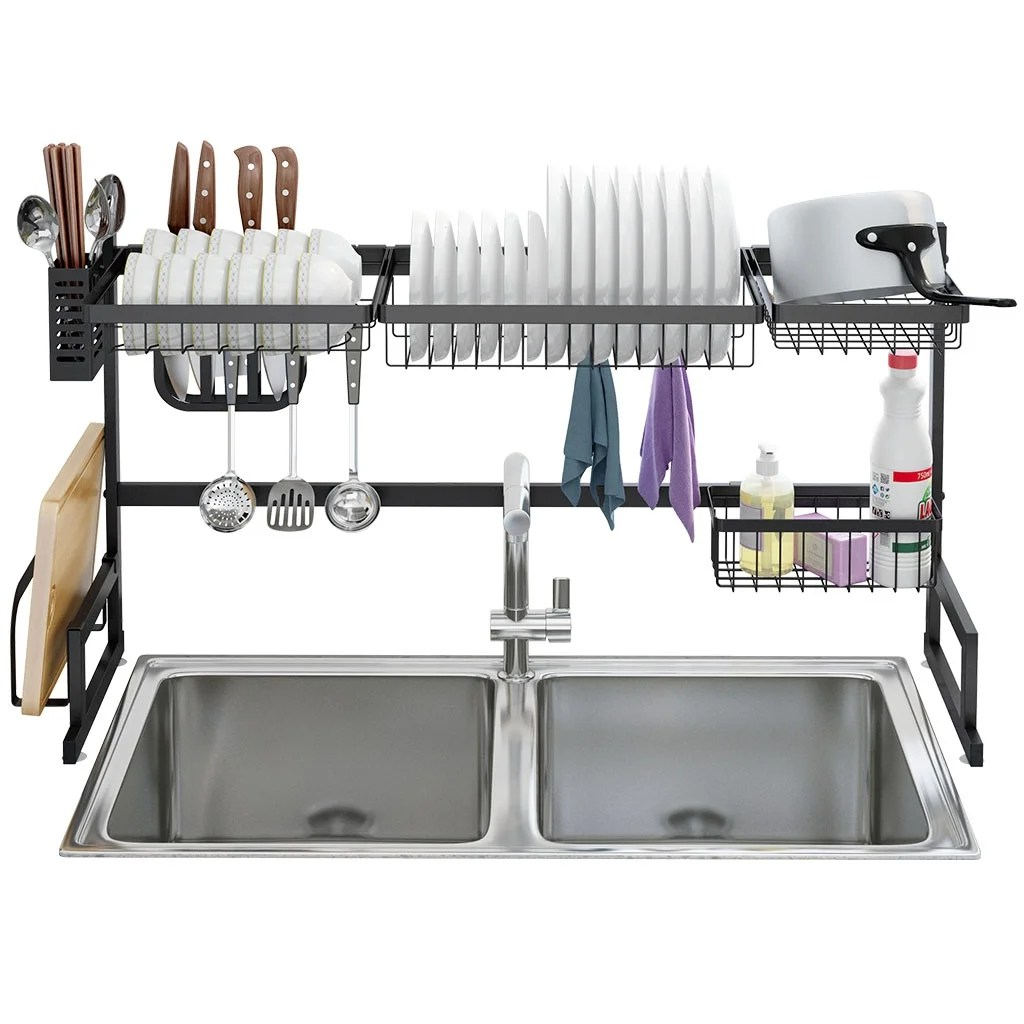 langria dish drying rack over sink stainless steel drainer shelf 2 tier utensils holder display stand 37 4 inches width