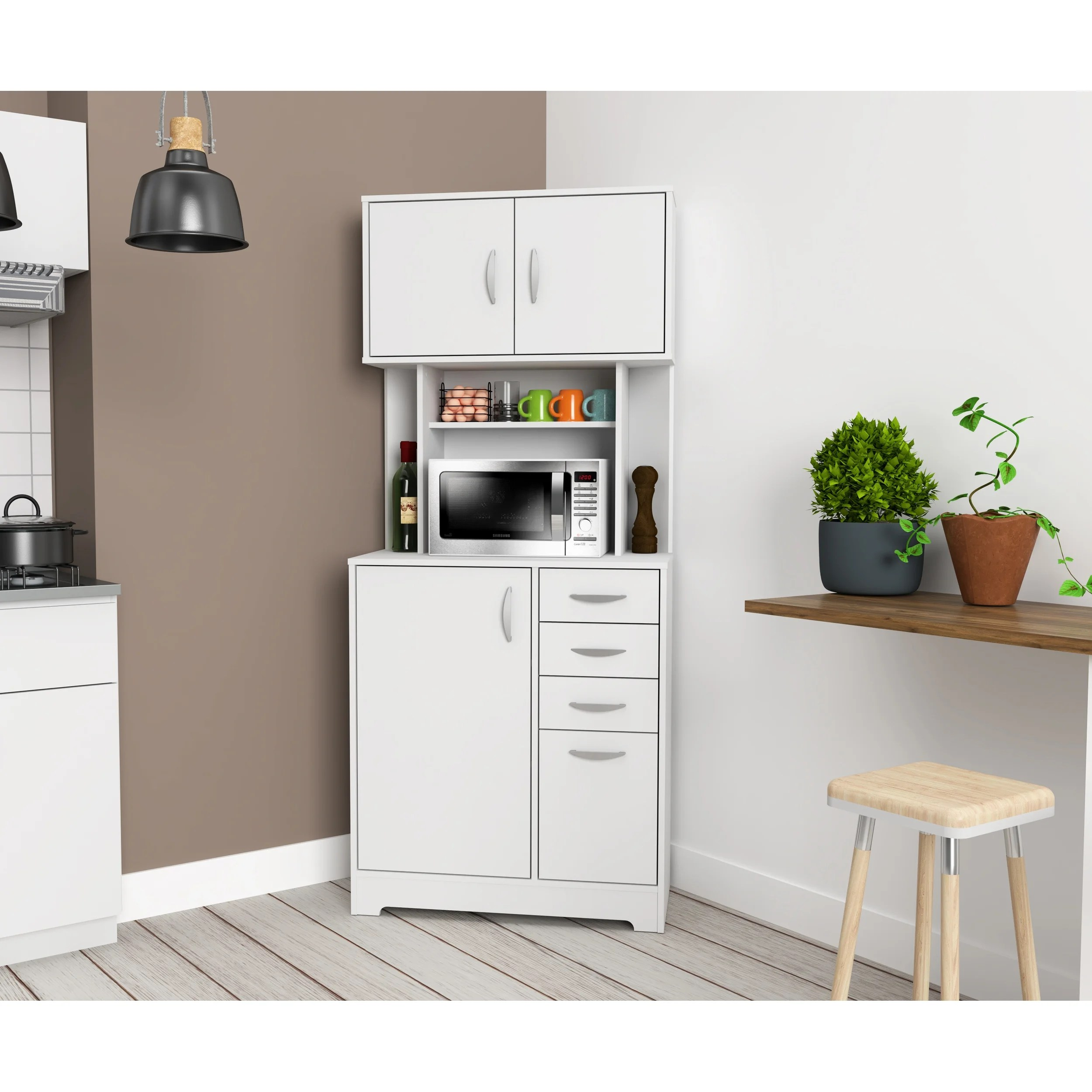 inval corner microwave storage cabinet