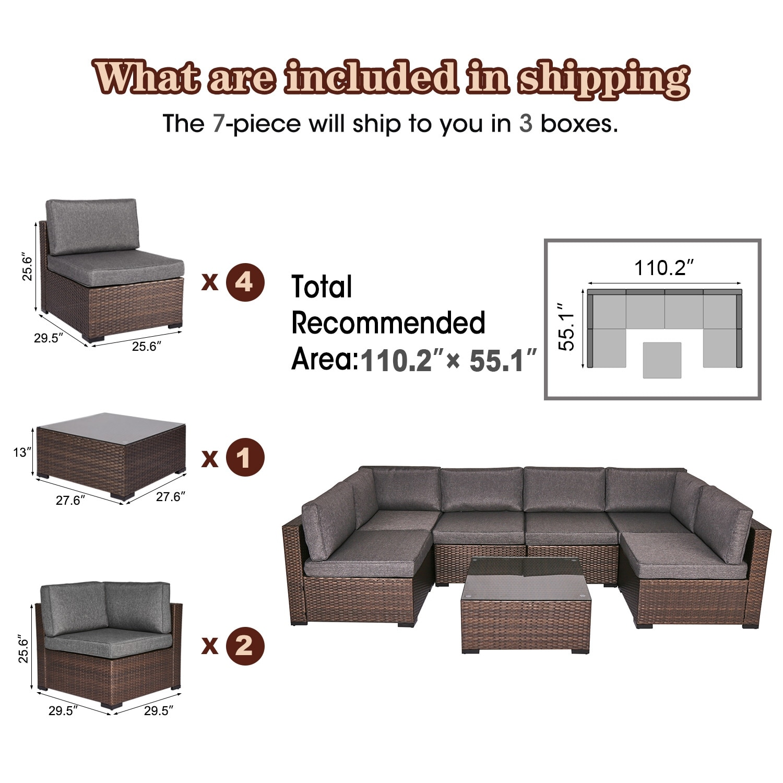 kinsunny outdoor sectional rattan wicker sofa conversation set