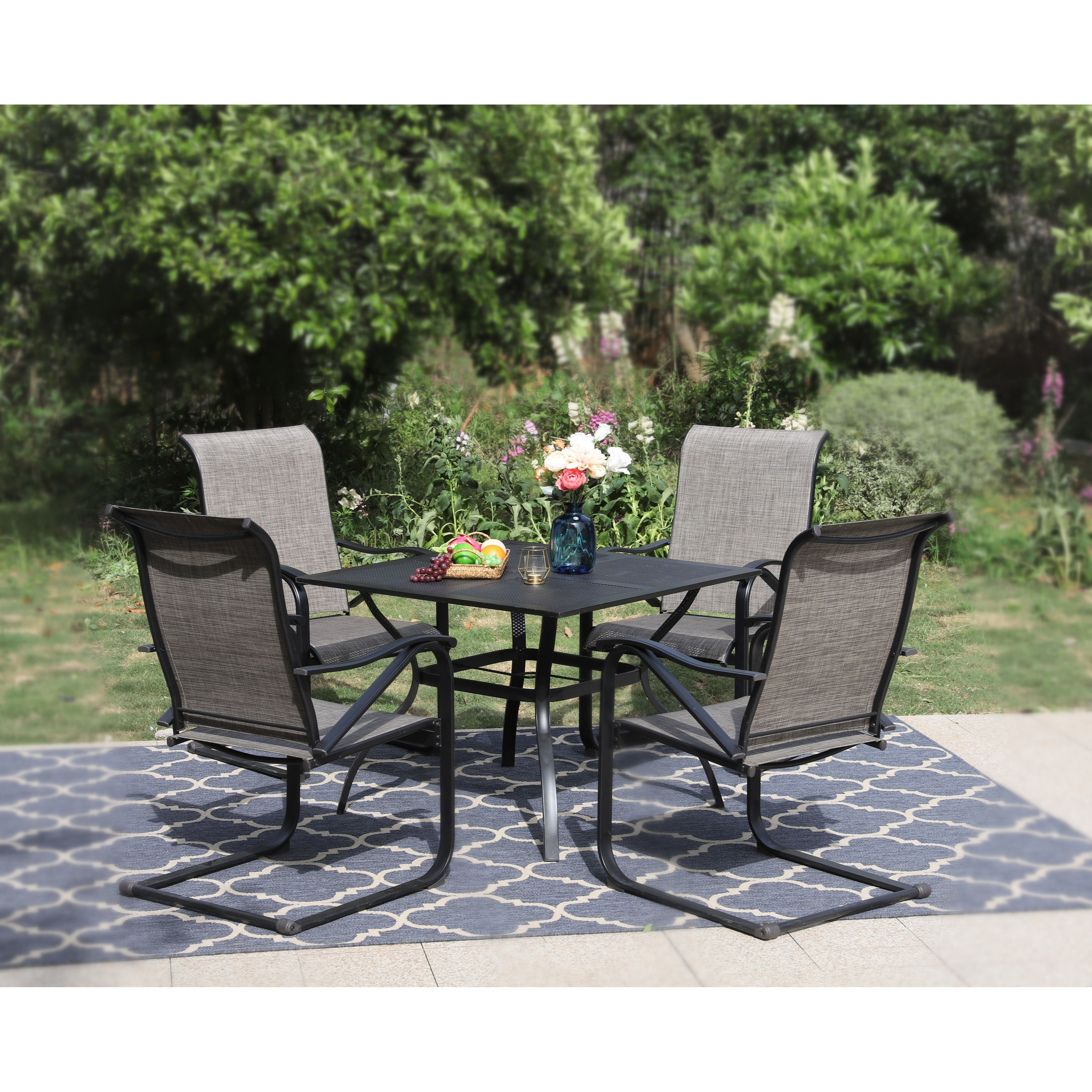 phi villa 5 piece patio furniture dining set with 4 c spring motion textilene metal chairs and steel table with umbrella hole