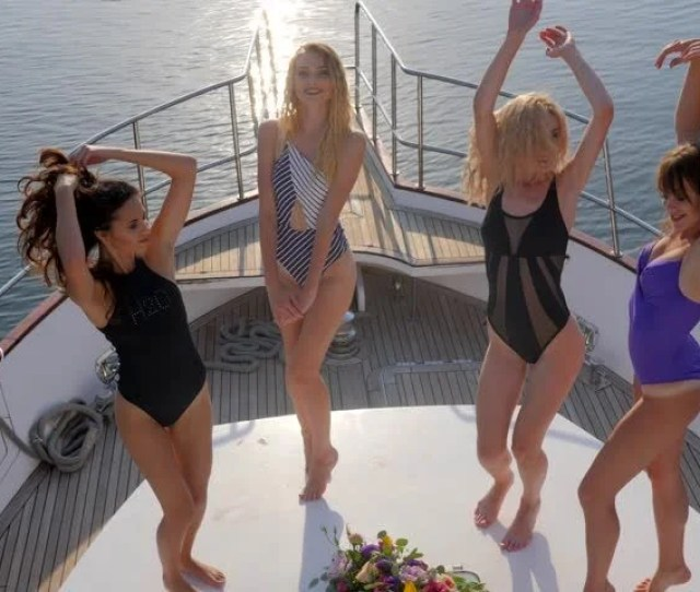 Sexy Girls In Swimsuit Dancing On Party On Aboard Boat In Sea At Summer Holiday Rich Life