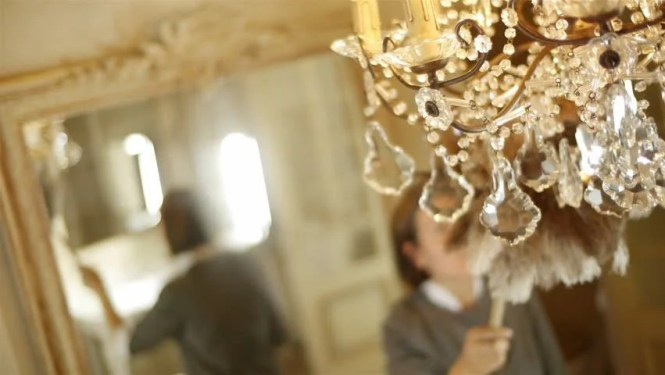 Maid Cleaning Crystal Chandelier With Duster Stock Footage Video 10518602 Shutterstock