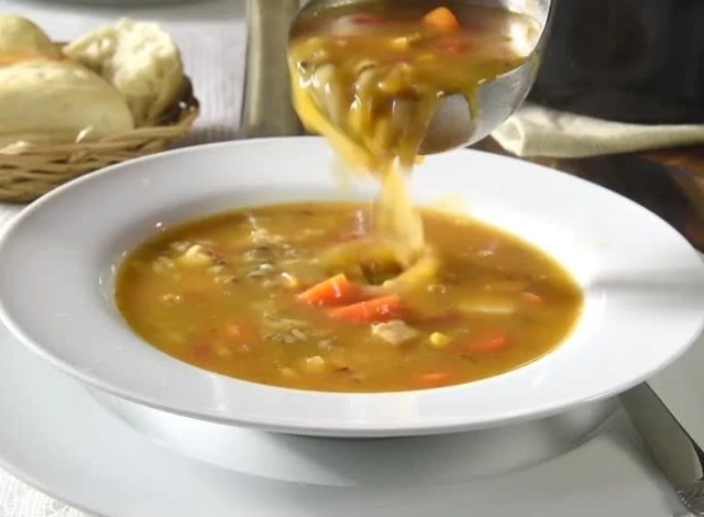 Image result for serving soup into bowl