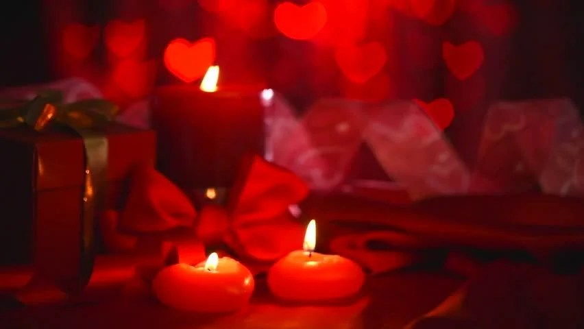 Valentines Day Beautiful Valentine Scene With Red Hearts
