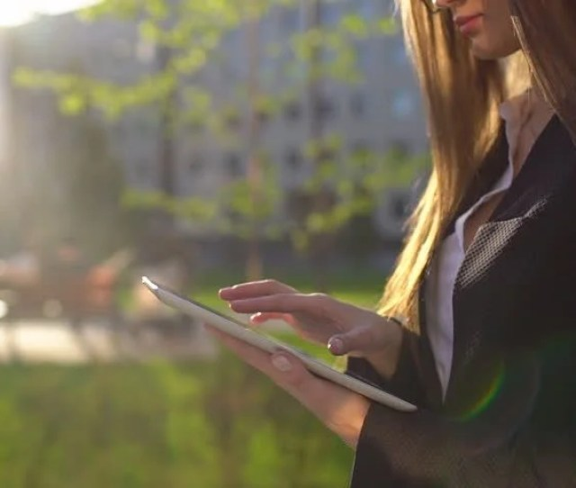 Businesswoman Using Digital Tablet Close Up Outdoors Walking In Sunny Morning City Slow Motion Businesswoman Professional Business Woman Hands Using A