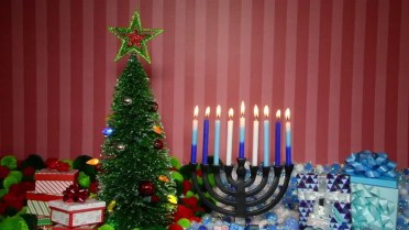 Image result for hanukkah candles next to christmas tree
