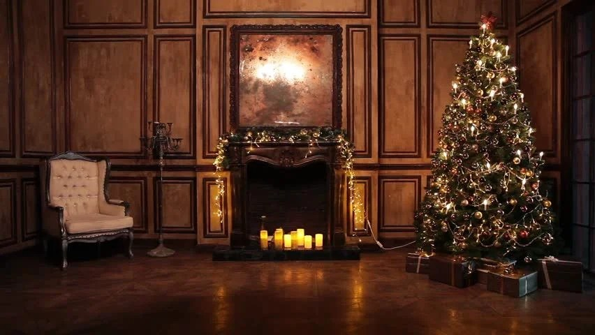 Classic New Year Tree Illuminated Christmas Decoration In