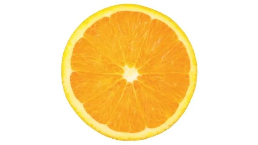 Half Orange Turning On Itself On A White Background Stock