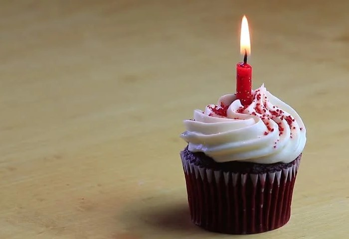 Hd0019one Chocolate Birthday Cupcake With One Burning Red Candle