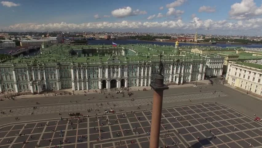 Palace Square From Above Aerial Quadcopter Flightover