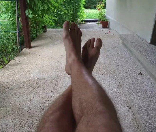 Hairy Legs Of A Man Playing With Toes And Swinging Pov 4k