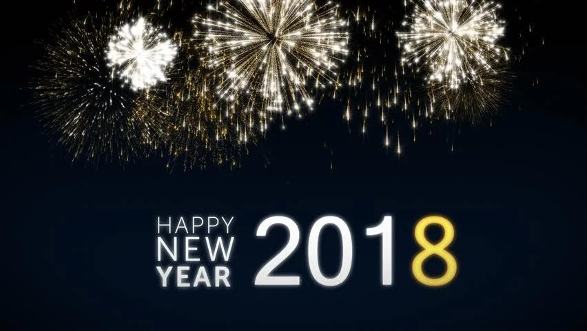 Stock video of looping happy new year 2018 social   32701861     4k00 09Looping happy new year 2018 social post card with gold animated  fireworks on elegant black and blue background Loop Celebration concept