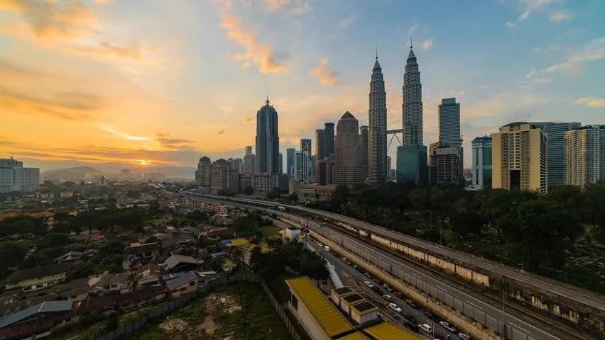 Time Lapse Of Sunrise In Kuala Lumpur, Malaysia. High ...