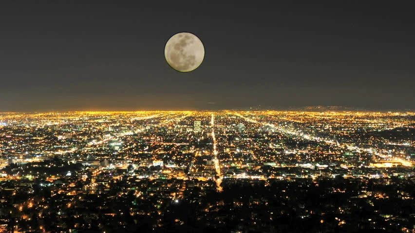 Red City Over Moon View