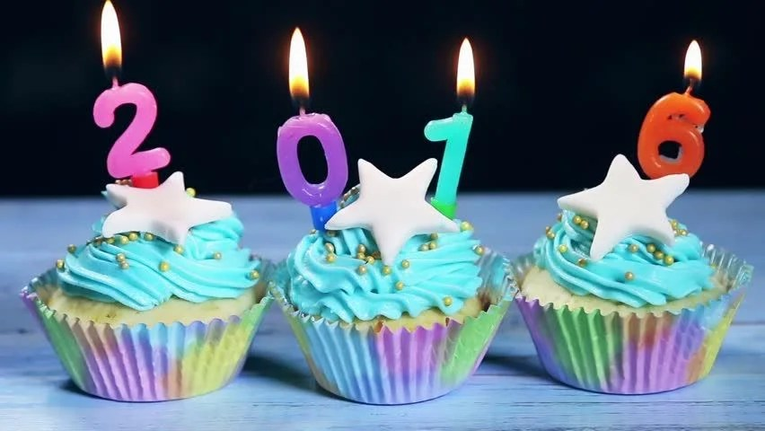 Stock video of cupcakes and candles happy new year   18750920     Visually similar footage