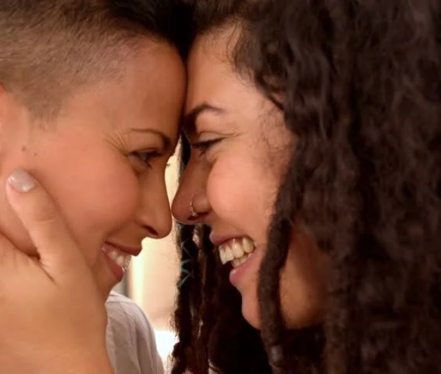 Happy Lesbian Couple Smiling Face To Face In Slow Motion