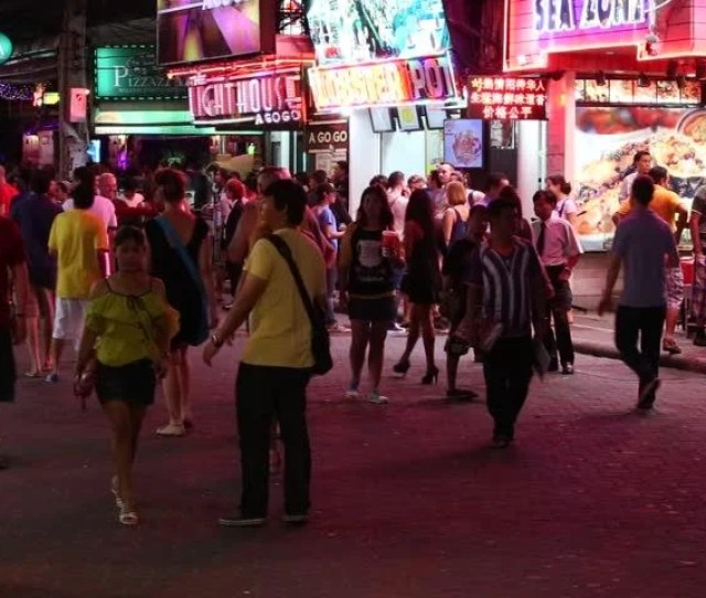 Pattaya Thailand November 15 2014 Walking Street Is Red Light District With Many Restaurants Go Go Bars And Brothels That Draws People Primarily For