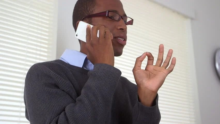 Office Black Talking Person Phone