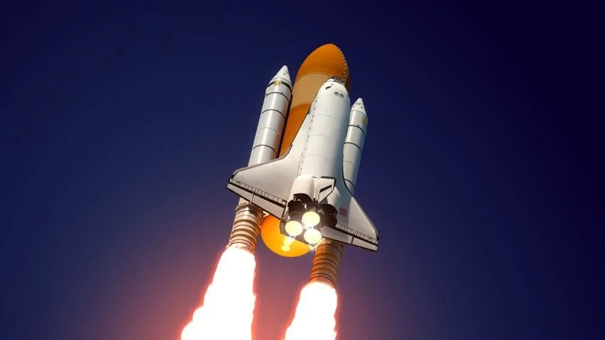 Space Shuttle Launch 3D Animation Stock Footage Video