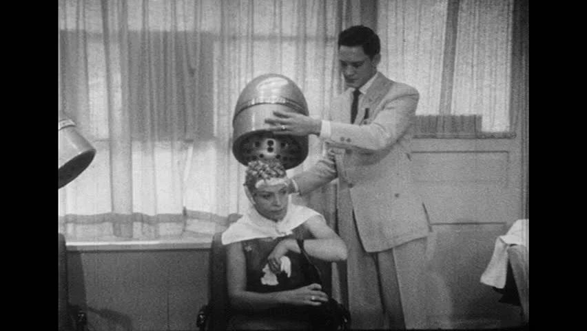 Stock Video Of United States 1950s Male Stylist Puts
