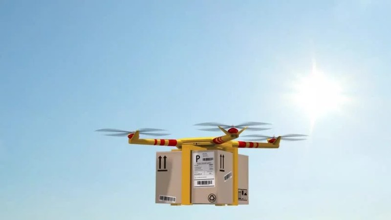 Drone Delivering Pizza Bo Carrying For Fast Food