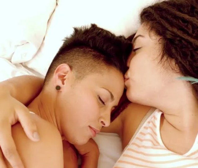 Happy Lesbian Couple On Bed In Slow Motion