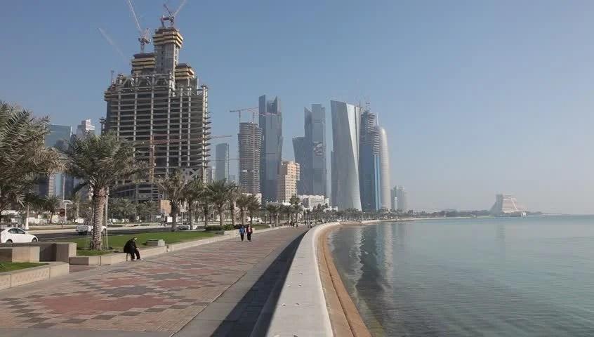 Corniche In Doha Qatar Stock Footage Video 100 Royalty