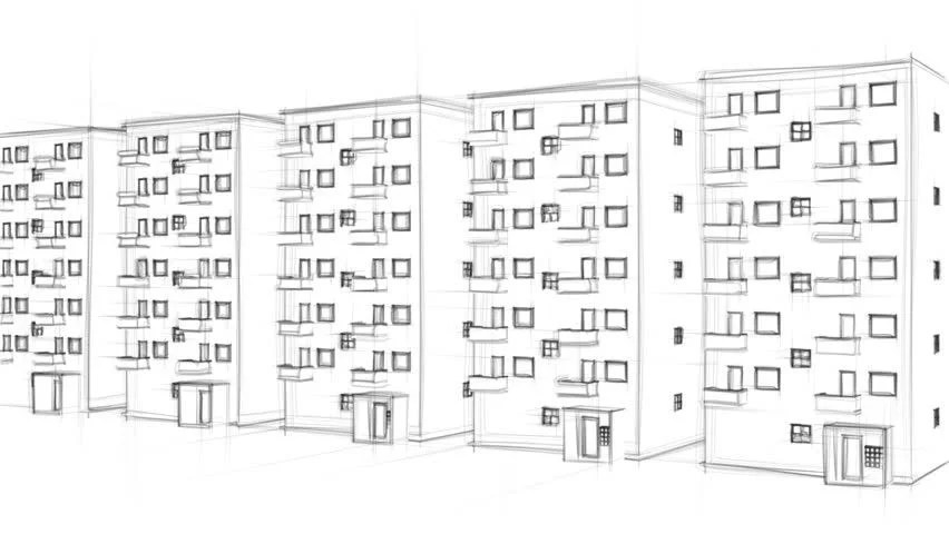 Amazing Animated Line Drawing Of An Apartment Complex On White Background