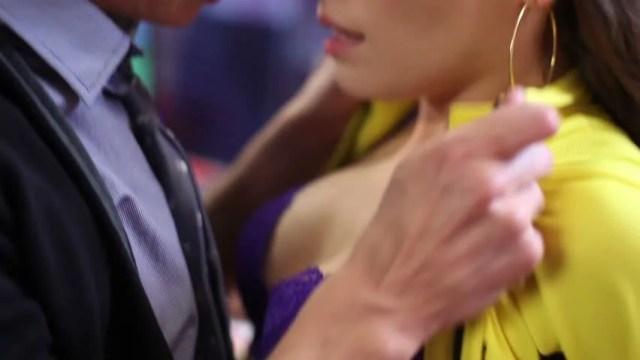 Young Couple Romantic Kissing Passionate Flirt Man Rips Girl Skirt And Kisses