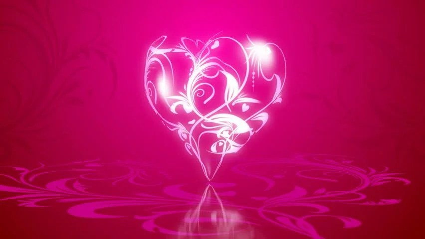 3d Flowers In Heart Formation On A Pink Background With