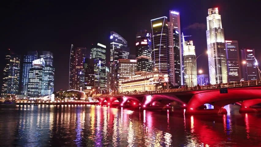 Singapore Cityscape At Night. Time Lapse. High Quality ...