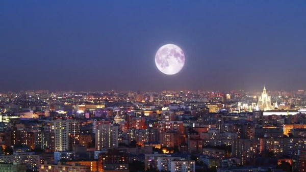 Time Lapse Of Moon Rising Over Los Angeles Stock Footage ...