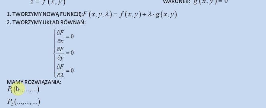 Lekcja 9 – Ekstrema warunkowe (mnożnik Lagrange'a)