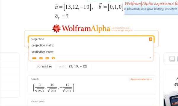 Geometria analityczna w WolframAlpha