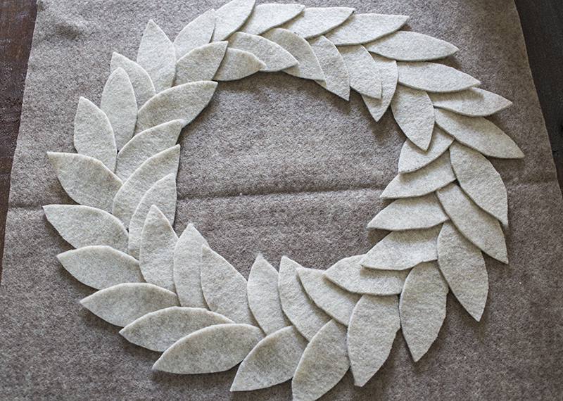 AKA Design Felt Wreath Pillow Lay Out Leaves BLOG PIC
